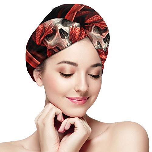 tangdouou Enveloppe de Serviette en Microfibre pour Femmes 11 Pouces x 28 Pouces Turban de Cheveux à séchage Rapide Super Absorbant pour Le séchage des Cheveux Longs et bouclés, Cool Skull Dragon Red