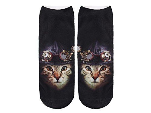 Unbekannt Socken bunt mit lustigen Motiven Print Socken Motivsocken Damen Herren ALSINO, Variante wählen:SO-L098 Katze