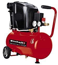 Einhell Compressor, TE-AC 230/24 (1.5 kW, 24 l. Suction Power 230 l / min, 8 bar, Lubricated, Large Wheels and mounting Bracket), Red