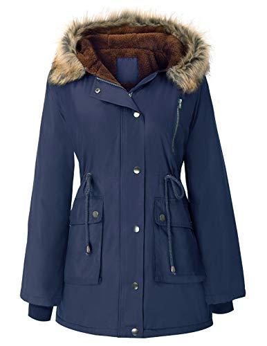 GRACE KARIN Womens Hooded Warm Winter Coats with Faux Fur Lined Outwear Jacket Navy S
