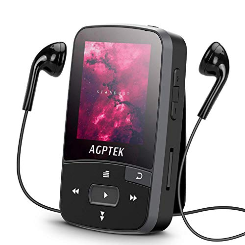 16GB Clip MP3 Player with Bluetooth 4.0, AGPTEK A50S Lossless Sound Music Player with Armband for Sports, Supports FM Radio Voice Recording and 128GB Expanding, Black