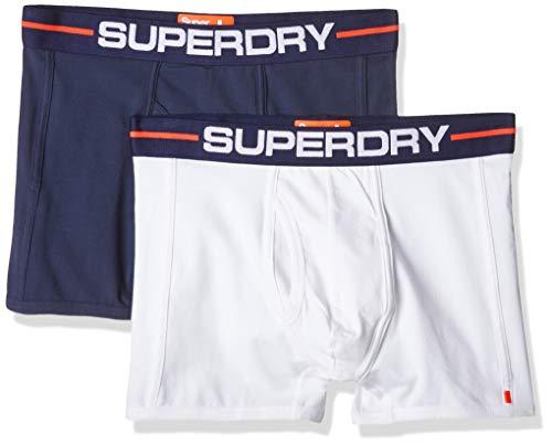 Superdry Herren Sport Boxer Double Pack Boxershorts, Mehrfarbig (Optic/Richest Navy VI2), Small