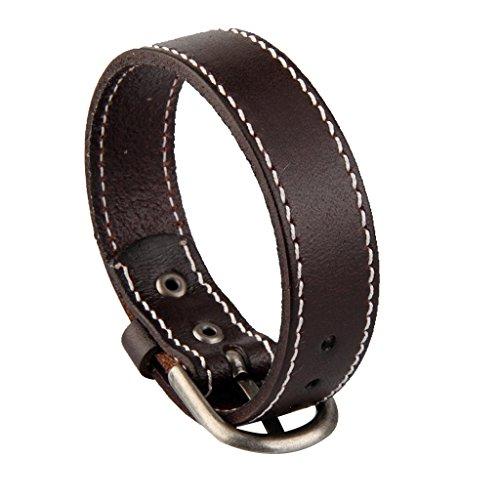 Desconocido Generic Vintage Leather Wrap Wristband Cuff Punk Metal Correa Hebilla Pulsera Brazalete 23cm - Marrón