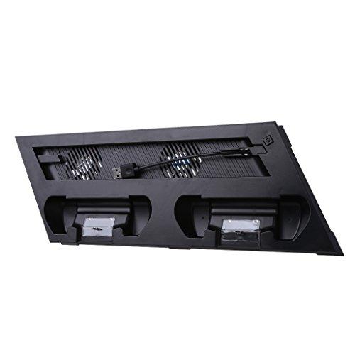 PHILSP Soporte de Ventilador Soporte Vertical Ventilador de enfriamiento Base de Carga de concentrador USB, para Consola PS4 Slim Joystick Negro