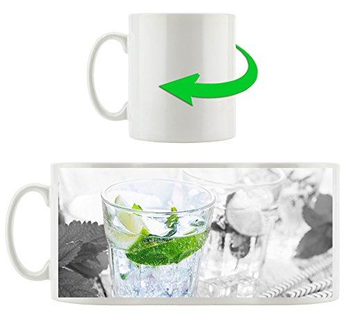 verres mojito à la menthe B & W détail, Motif tasse en blanc 300ml céramique, Grande idée de cadeau pour toute occasion. Votre nouvelle tasse préférée pour le café, le thé et des boissons chaudes