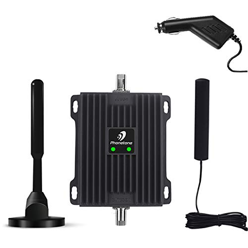 Cell Phone Signal Booster for Car, SUV and Truck - Enhance 4G Data and Volte for Verizon, AT&T and T-Mobile - Dual 700MHz Band 12/13/17 Cellular Repeater Antenna Kit for Small Vehicle.