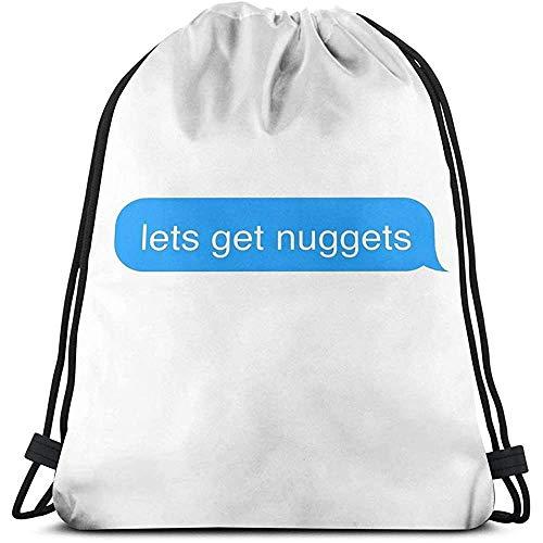 Niet van toepassing Cinch Tassen laat krijgen Nuggets Tekst Bericht Sticker School Gift Fitness Tas Cinch Tassen Universele Casual Sport Trekkoord Rugzak Reizen Print Laptop