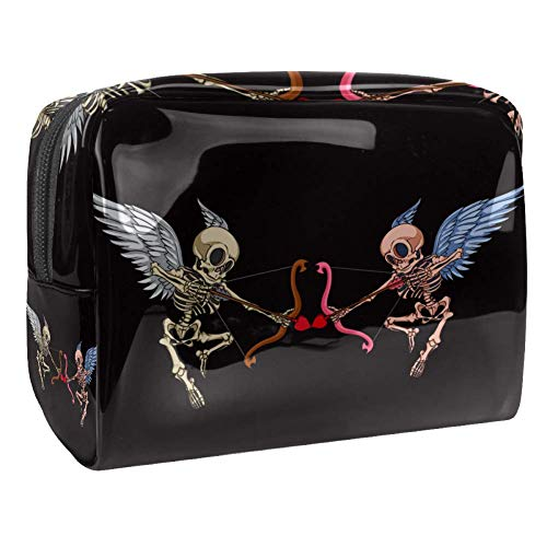 Bolsa de maquillaje de PVC portátil de viaje, bolsa de aseo – Funda impermeable de viaje, neceser de aseo de viaje, neceser de 7,3 x 3 x 5,1 pulgadas, color negro con rosa roja
