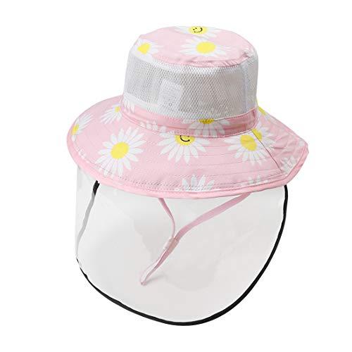 Happy Cherry Kinder Schutzmaske Sommerhut Sonnenhut mit Kinnriemen Fischerhut mit abnehmbares transparentes Visier Baby Breite Krempe Rosa - Größe L