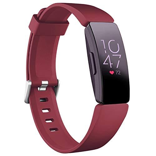 Oielai Kompatibel mit Fitbit Inspire HR Armband/Fitbit Inspire 2 Armbands, Wasserdicht Silikon Armband Sanft Sport Ersatzband für Fitbit Inspire/Ace 2/Fitbit Inspire HR, Frauen Männer, Klein Rot