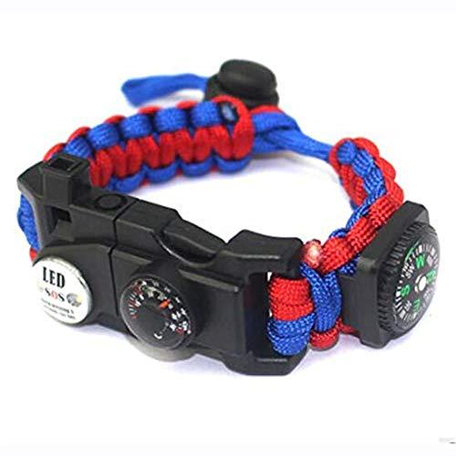 XHLLX Kit De Bracelet De Survie Paracord Réglable avec Allume-Feu Flint Compas Thermomètre Sifflet Corde À Parapluie Lumière LED Lecteur De Cartes Multi-Outils,Red and Blue