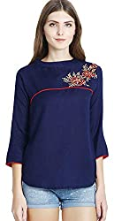 Triumphin Blue Women Short Top Kurti for Jeans Embroidered Cotton Top for Daily wear Stylish Casual and Western Wear Women/Girls Tops