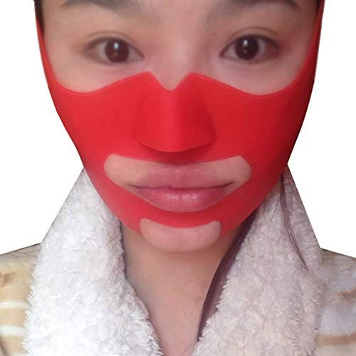 XIANWEI Gesichtskorrekturgürtel - Dünne Gesichtsmaske Silikon V Maske Maske Stark Abnehmen Biss Muskeltrainer Apfel Muskel Gesetz Muster Artefakt Kleines V Gesicht Verband Dünnes Gesicht Halsstraffung