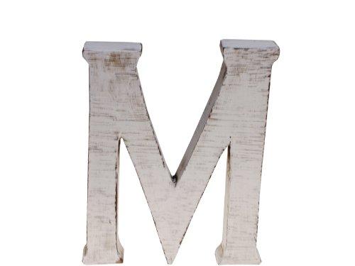 """kadoh Buchstabe """"M"""" (medium) Holz Höhe 20 cm Vintagelook shabby-chic creme-weiß"""