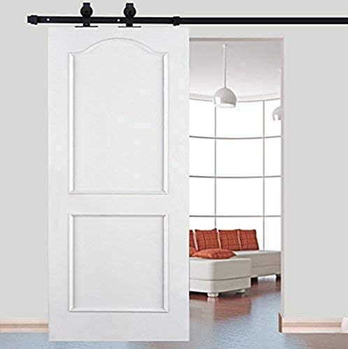 Kit de riel corredero para puerta corredera, polea con riel plegable, gran rueda negra para puerta corredera, puerta colgante de madera, separador de grano, armario de acero inoxidable, 6 FT (200 cm)