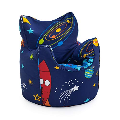 Ready Steady Bed Childrens Filled Bean Chair Space Boy