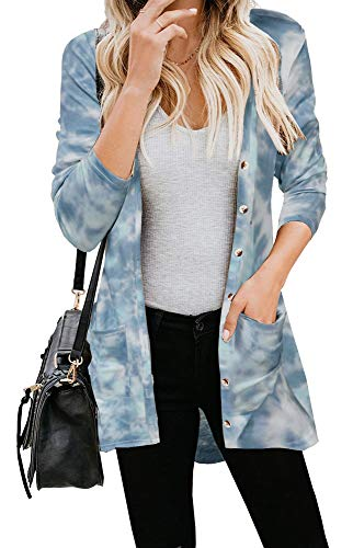 ETCYY Women's Tie Dye Open Front Cardigan Sweaters Outwear Long Sleeve Button Lightweight WorkoutAthleticJackets Gray