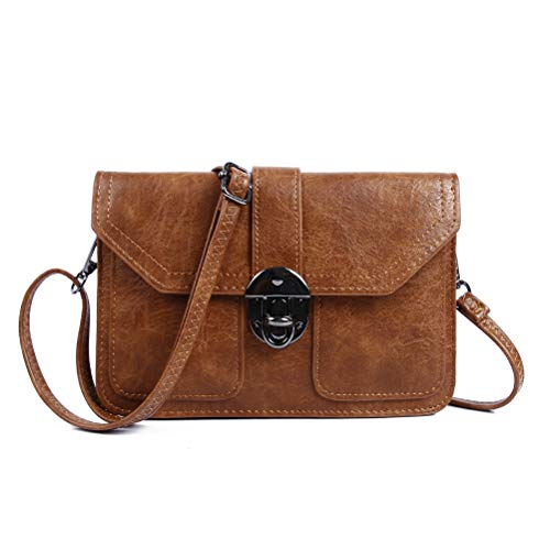 Small Purse for Women Vegan Leather Crossbody Cell Phone Bags Wallet by TENXITER (Brown Crazy Horse)