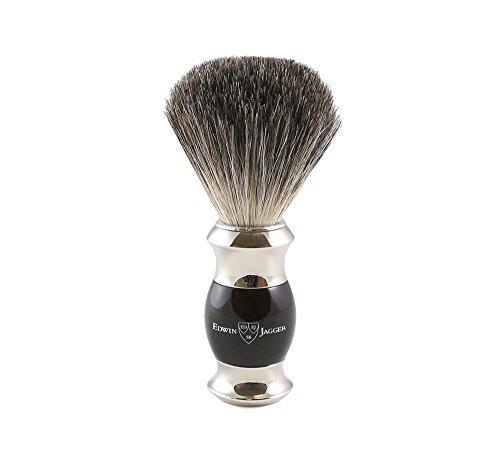 Edwin jagger 81sb356 - Brocha para afeitar de pelo de tejón (imitación de madera de ébano, con cuello y extremo de acero niquelado)