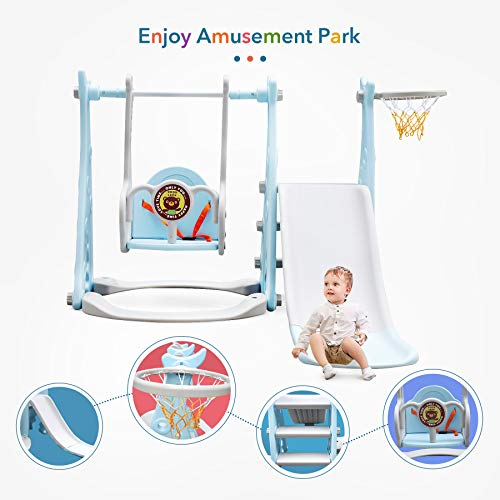 Ealing 4-in-1 Toddlers Slide and Swing Basketball Set,for Kids Taking Exercise Playing Climber Sliding Playset,Safe Slide for Children,Easy Set Up for Indoor Outdoor in Your Beautiful Backyard (Blue)
