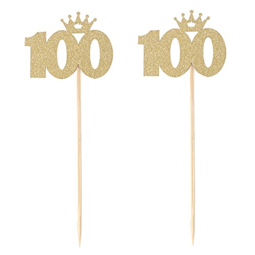 BESTOYARD 100 Gold Cake Topper Baby 100 Tage Feier 100. Geburtstag oder Jubiläum Party Dekoration Party Supplies 10ST