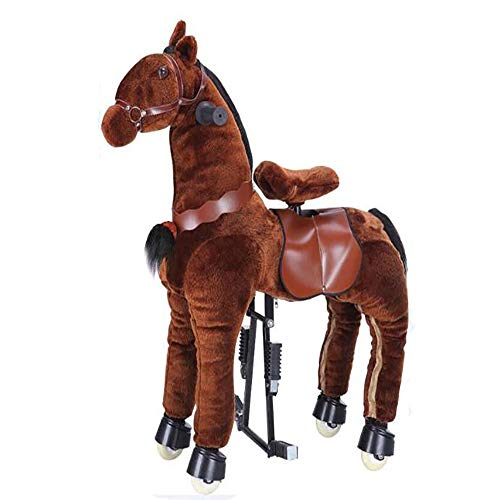 MMRLY Rocking Horse Ride on Toys,Action Pony,Ride on Horse Walking Animal Plushtoy with Wheeled No Battery No Electricity Mechanical Horse,M