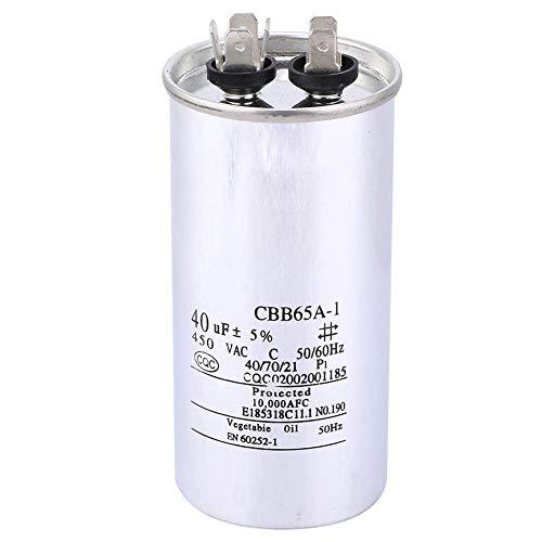 LANTRO JS - Condensador redondo CBB65 40UF 450V Condensador de arranque de motor electrico redondo para condensador de aire acondicionado de bomba de calor o frío recto