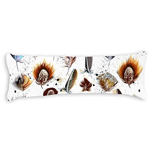Fhdang Decor Plumes Body Pillow Case Coton Doux Lavable en Machine avec Fermeture éclair Maternité Grossesse, Coton, Single 3ft (36'')