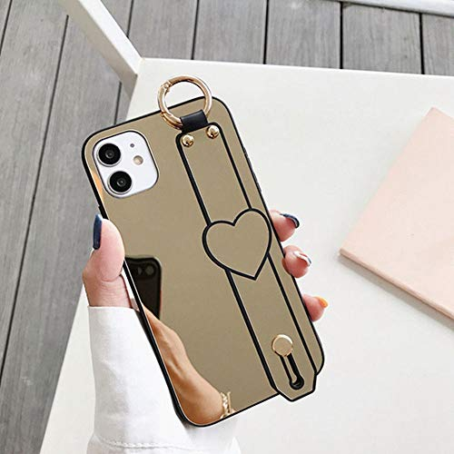 Estuche para teléfono con espejo con correa para la muñeca para iPhone 11 11Pro Max XR XS Max X 7 8 Plus 11Pro SE 2020 Cubierta trasera con soporte para espejo de maquillaje, T2, para iphone XS