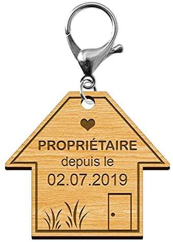 Porte-clés Je suis Propriétaire Personnalisé - Porte Cle Maison Proprietaire - Cadeau Personnalisé en Bois et Mousqueton Argenté en Métal