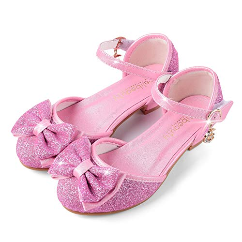 ReliBeauty Girl's Princess Costume Shoes Wedding Party Low Heel, Pink, 9M