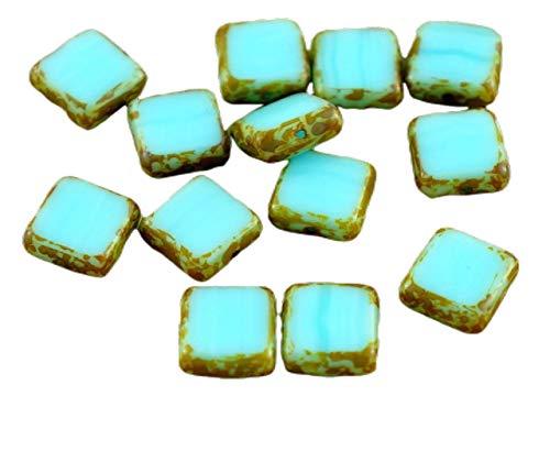 Perles en verre ronde plate Ø10mm couleur bleu jean opaque x 5