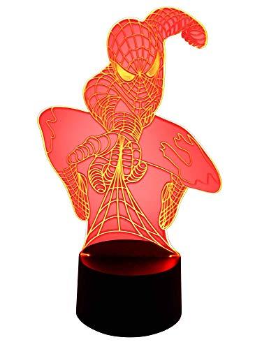 Lampe LED 3D originale pour chambre d'enfant Motif Spiderman Marvel