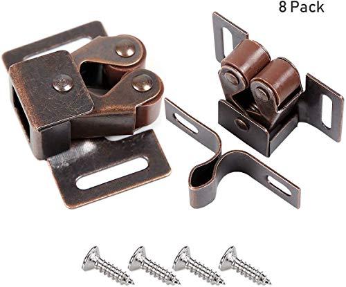 Möbelschnäpper 8 Stück,CCUCKY Messing Doppel-Rollenschnäpper für Schrank , Kleiderschrank Tür Ball Roller Catch,Normale Größe passt für Alle Möbel