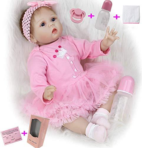ZIYIUI 22 Pulgadas 55 cm Muñecas Bebé Reborn Niña Silicona Suave Vinilo Vida Real Realista Hecho a Mano Juguetes de Niño y Niña Mejor Regalos de Cumpleanos Reborn Niña Reborn Toddler