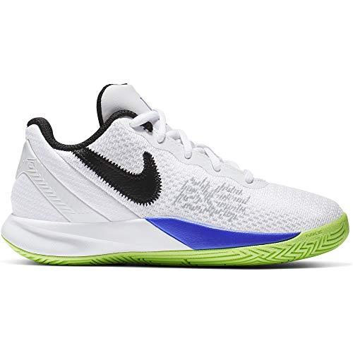 Nike Boy's Kyrie Flytrap II Basketball Shoe White/Black/Lime Blast/Persian Violet Size 2 M US