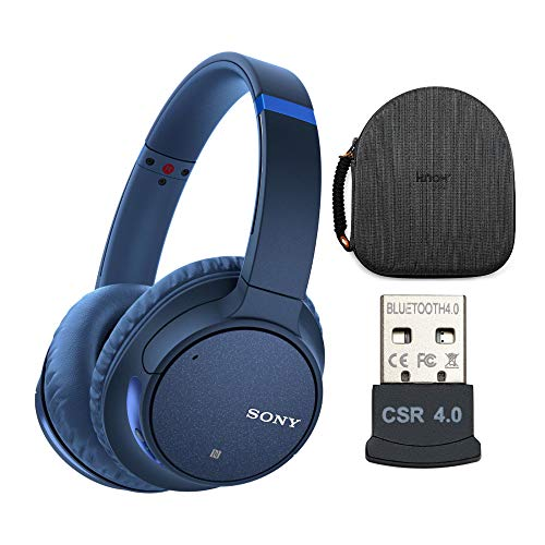 Sony WH-CH700N Wireless Noise Canceling Headphones (Blue) with Headphone Case and USB Bluetooth Adapter (3 Items)
