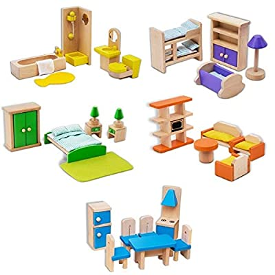 Pioneering 5 Sets of Colorful Wooden Dollhouse Furniture Including Kitchen, Bedroom, Kids Room, Bathroom, Dining Room for Dollhouse