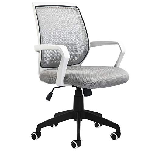 BLUERA Office Chair Ergonomic Desk Chair Mesh Computer Chair Swivel Chair with Back Lumbar Support- Multiple Colors-Light Grey