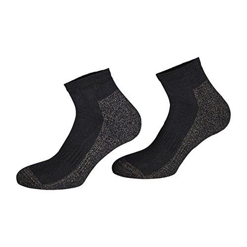 TippTexx24 2 oder 4 Paar Kurze antibakterille Silber Socken mit Anti-Loch-Garantie (Sneakersocken Kurzschaftsocken),X-Static Plus Coolmax (Schwarz - 2 Paar, 43-46)