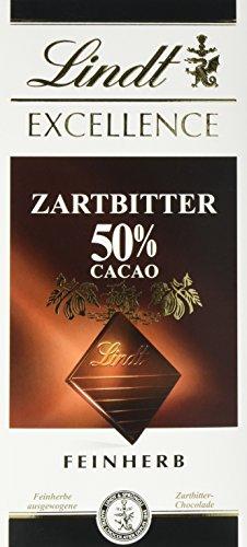 Lindt & Sprüngli Excellence Zartbitter 50 {6f07a8ee35e9643bdc0f6988df9372f1b0fe73ee59abb2a714263a133f2d000d}, 4er Pack (4 x 100 g)