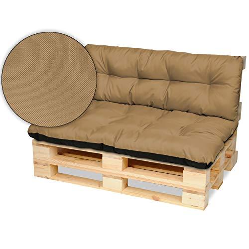 SuperKissen24. Cuscino per Bancale Divano Pallet 120x80 cm con Schienale 120x38 cm Seduta Impermeabile e Comodo per Divanetti da Esterno - Beige