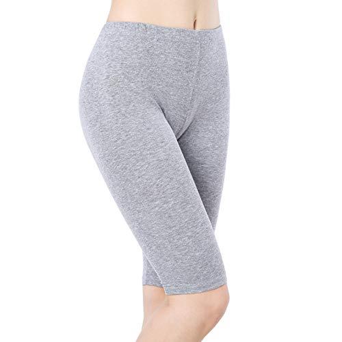 Ferrieswheel Story Womens Short Leggings Under Dress Pants Stretch Knee Length Shorts Fitness Yoga Grey