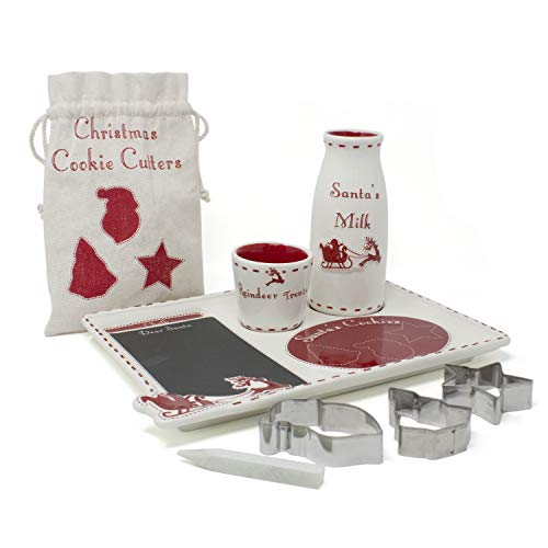 Child to Cherish Santa's Message Christmas Plate Set with Cookie Cutters, Santa plate, Santa milk jar, and Reindeer Treat Bowl