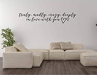Teisyouhu Wall Art Sticker Truly Madly Crazy Deeply in Love with You Inspired by One Direction Lyrics Wall Words Decal Quote Lettering Home Decoration Decal