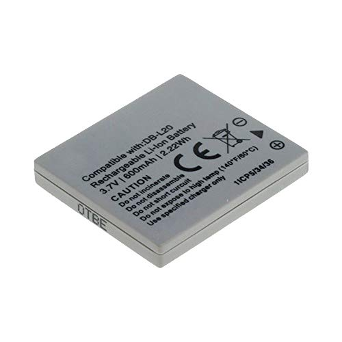 CELLONIC Batería Recargable DB-L20 DB-L20A Compatible con Sanyo Xacti VPC-CG9 VPC-CG6 VPC-CG65, VPC-C1 VPC-C4 VPC-C5, VPC-CA6 VPC-CA8, VPC-E1 VPC-E60, 700mAh bateria de Repuesto