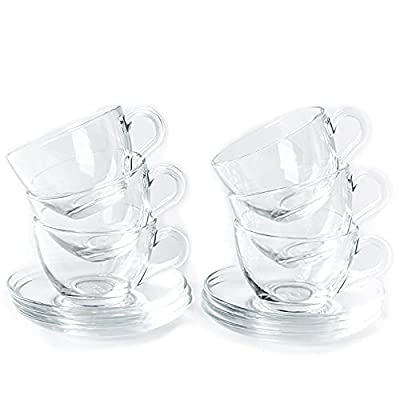 Tosnail 6 Pack 7-Ounce Glass Tea Cups and Saucers Sets Glass Coffee Mugs