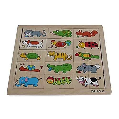 Beleduc - 11006 - Puzzle en Bois - Match Et Mix - Animaux