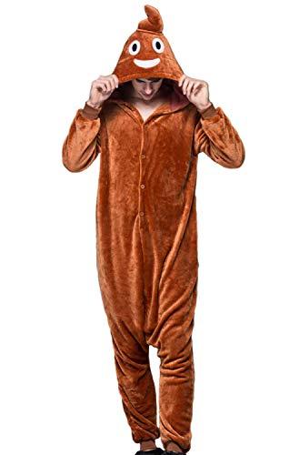 pigiama kigurumi tuta costume animale per carnevale, halloween, festa, cosplay monopezzo in flanella, morbido e comodo (Altezza 169cm-178cm/L, merda)
