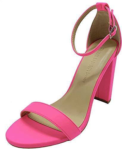 Wild Diva Women's High Chunky Block Heel Pump Dress Heeled Sandals (9, NEON Pink)